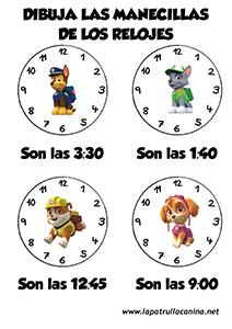 Manecillas Reloj Patrulla Canina